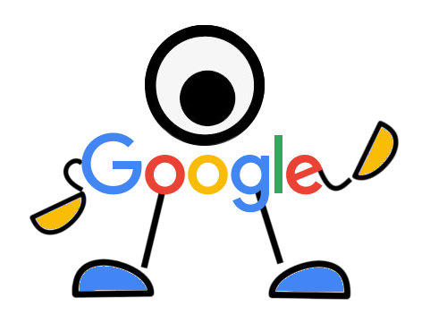google crawl bot presented as logo with arms, legs, and eyeball